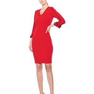 Calvin Klein Contrast-Piped Bow Sleeve Dress